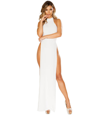 White Maxi Length Halter Neck Dress with High Slits-club wear-Roma Costume-white-small-Nakees