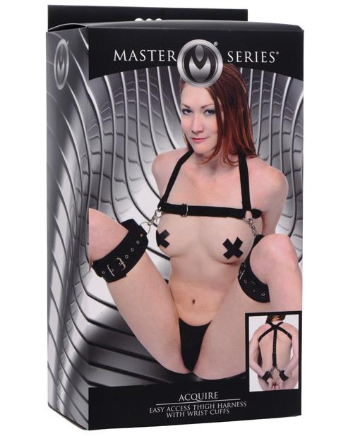XR Brands Master Series Acquire Easy Access Thigh Harness with Wrist Cuffs-sex toys-Master Series-black-Nakees