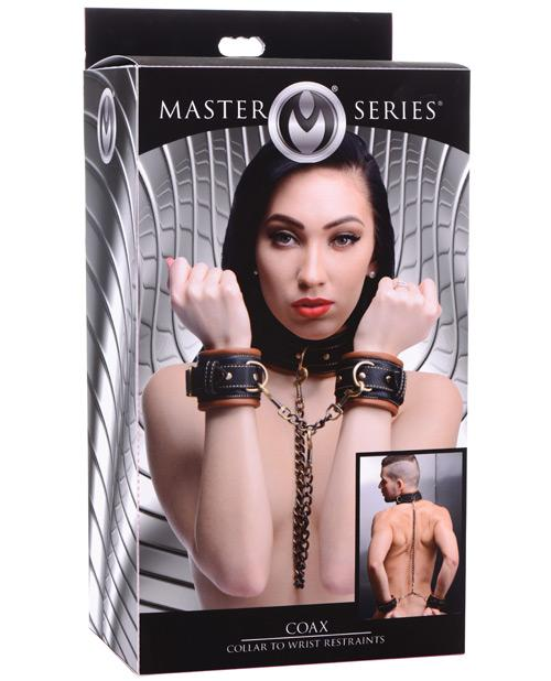 XR Brands Master Series Coax Collar to Wrist Restraints-sex toys-Master Series-black-Nakees
