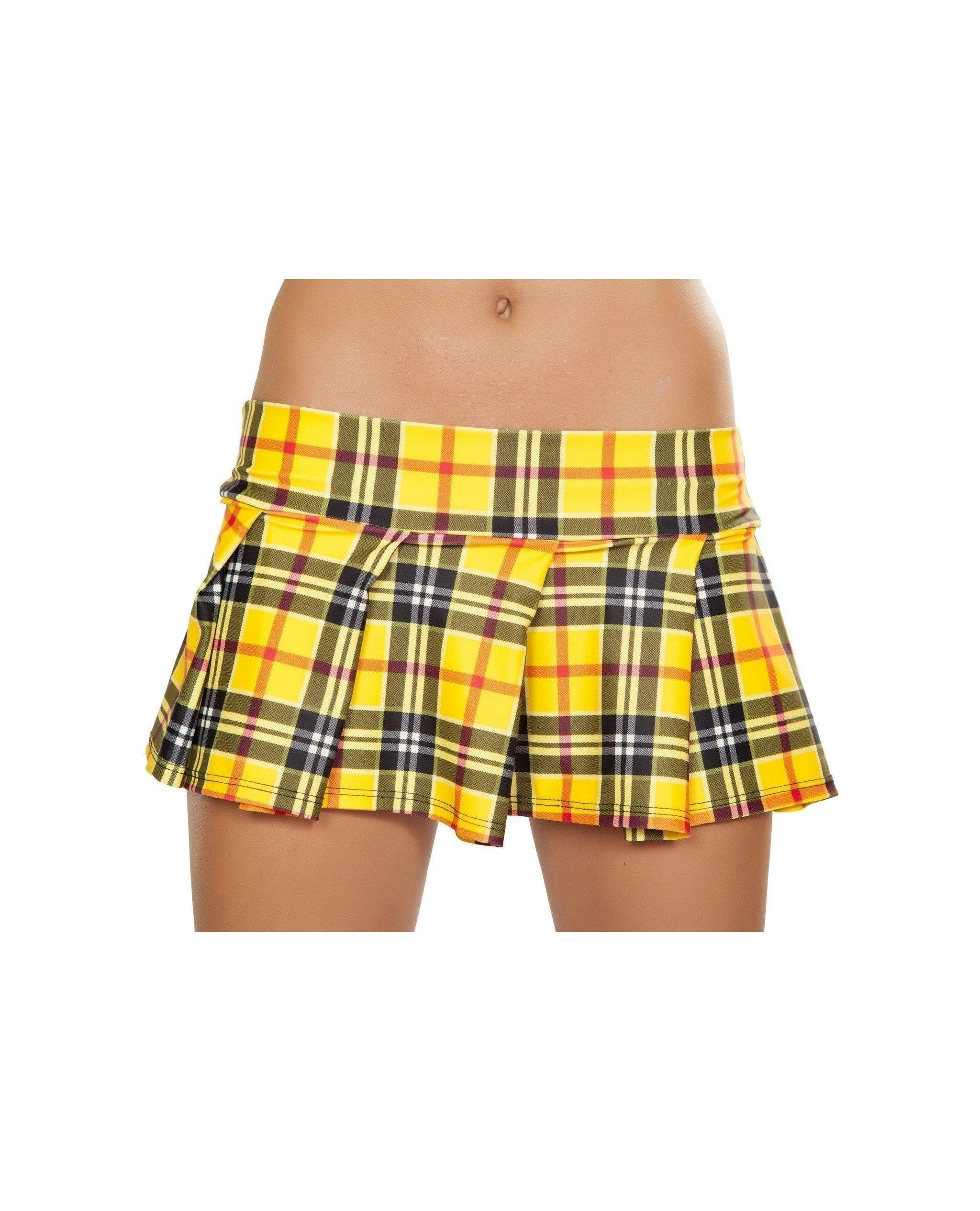 Yellow Plaid Pleated School Girl Skirt Costumes Size S/MNakees