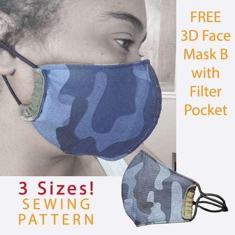 Sewing Pattern | Face Mask B w/ Filter Pocket - Wardrobe Architect