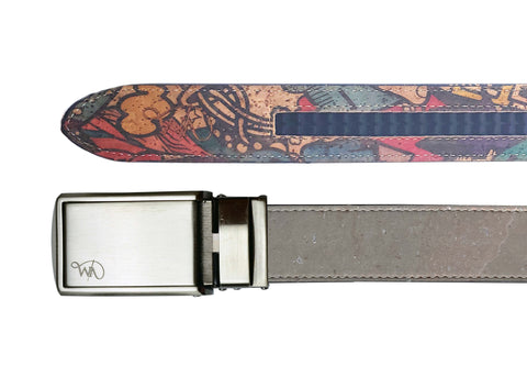 Unisex Cork Belt | Grey/Doodles