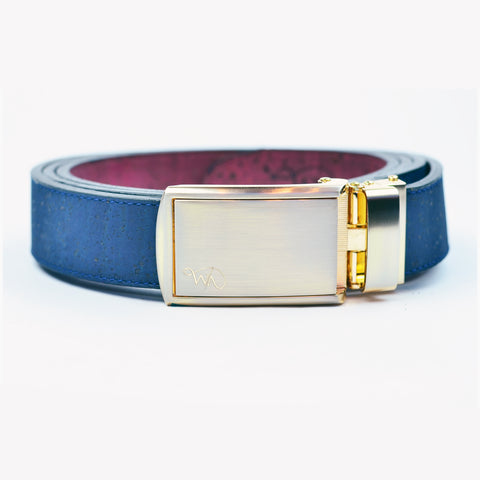 Unisex Cork Belt | Indigo/Wine - Wardrobe Architect