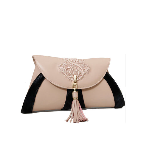 PONY HAIR DUAL TONE CLUTCH