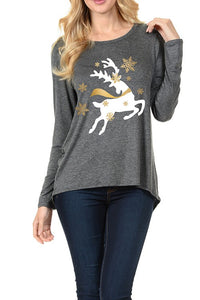 Gold Foil Bouncing Deer Christmas Ladies Long Sleeve Top