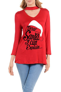 Dear Santa I Can Explain Ladies Long Sleeve Shirt
