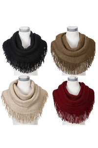 Fringed Knit Infinity Scarf