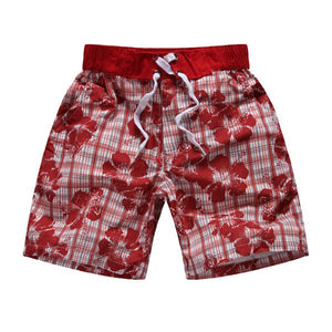 Stylish Drawstring Floral Print Plaid Shorts For Boy