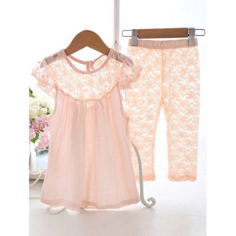 Lace Splicing Blouse + Cropped Pants Girl's Twinset