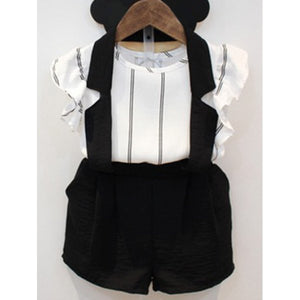 Cute Striped Blouse + Suspender Shorts Girl's Twinset