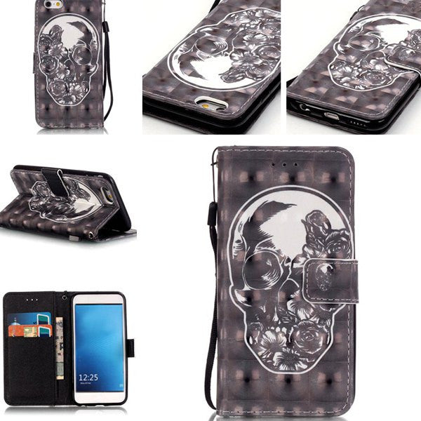 Skull Pattern Wallet Case- Iphone 7