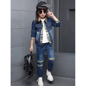 Camo and Flag Print Splicing Denim Jacket + Jeans Twinset
