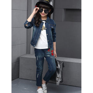 Embroidered Girls Denim Jacket and Jeans Set