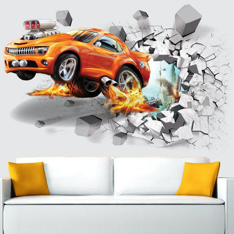 Afire Car Wall Sticker