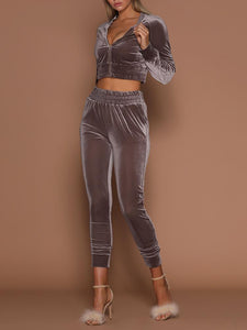 Shirring Zipper Up Cropped Pantsuit