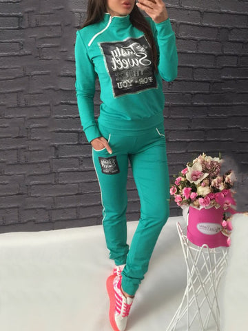 Street Style Letter Print Zipper Closure Sports Suit Sets