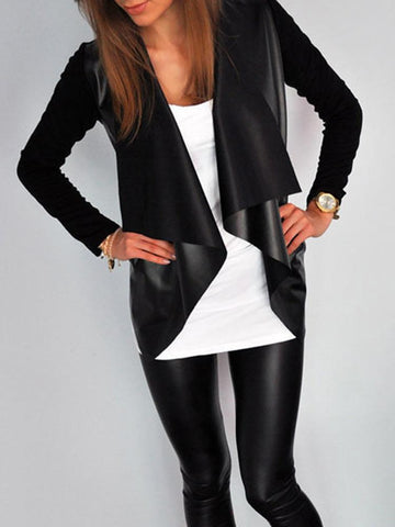 Leather Patchwork Cardigan Coats