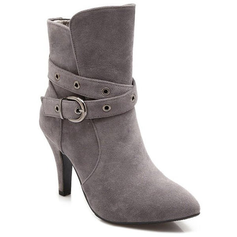 Cross Straps Eyelets Belt Buckle Short Boots