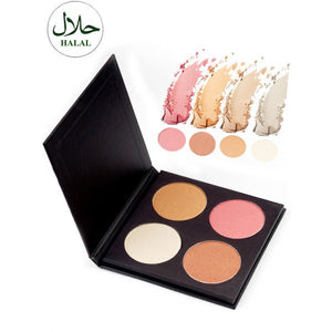 Halal 4 Colors Soft Mineral Highlighter Palette