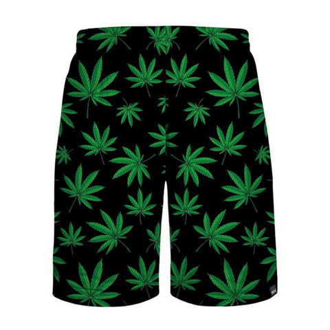 Leaf Print Casual Shorts - Black And Green