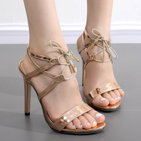 Metallic Color Stiletto Heel Sandals
