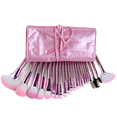 22 Piece Professional Pink Handle Makeup Brush Set with Case