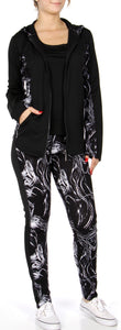 3 Piece Black/White Abstract Activewear Set