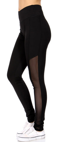 Side Mesh Active Leggings Black