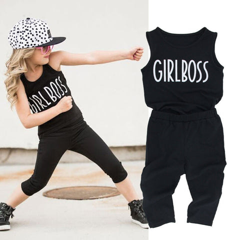 2PCS Toddler Kids Baby Girl Clothes SleevelessTank Top Vest+Capri leggings Trousers GIRL BOSS Outfit Clothing