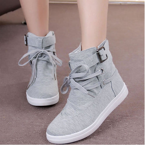 Women Buckle Strap Flats Shoes Ladies Female Casual Lace Up High Top Canvas Breathable Walking Shoes