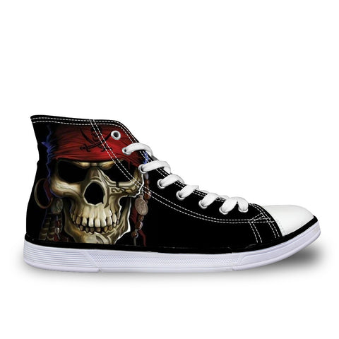Punk Skull Male High-Top Canvas Casual Shoes