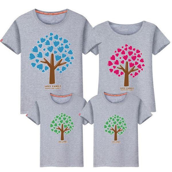 Mother & Father Children T-shirt Short-sleeved Family Matching Outfits Parents-children kids Clothing 6001 04