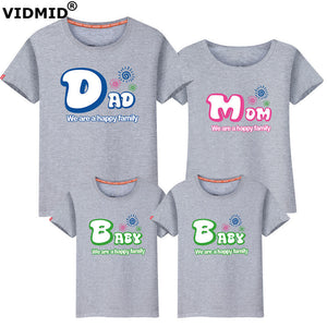 Mother & Kids Family Matching Short Sleeve Family T-shirt Outfits