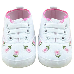Baby Girl Shoes Classic Sneakers Soft Bottom Anti-slip T-tied Flower Embroidery Shoes