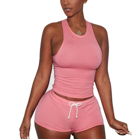 Two Piece Tank Top & Drawstring Shorts Set
