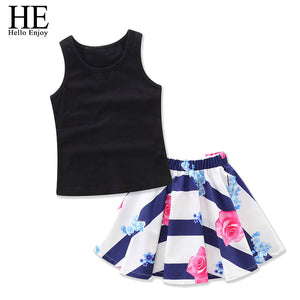 Mother and daughter clothes Family Matching Outfits Sleeveless vest+Stripe print floral skirt sets