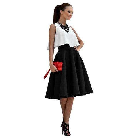 Sleeveless Top and Vintage Skirt Office Lady Women Stretch High Waist Skater Flared Pleated Swing Skirt Set