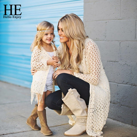 Mother and daughter tassel jacket + vest 2pcs family matching outfits