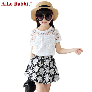 Girls Clothing Sets Teenage Summer Tracksuit Clothes Sets 2pcs Brand Lace T Shirt +Flower Skirt