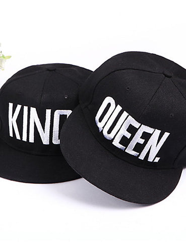 Set of 2 Baseball Caps King and Queen