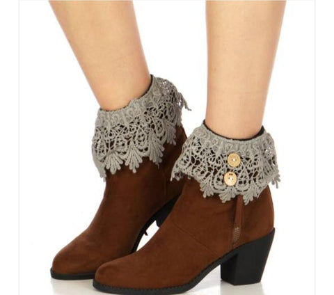 Buttoned solid crochet boot cuff GR2