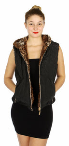 Reversible quilted shell & animal print fleece hooded vest Black
