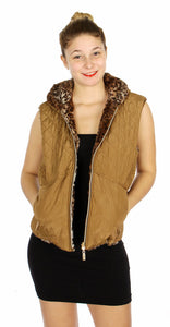 Reversible quilted shell & animal print fleece hooded vest Camel