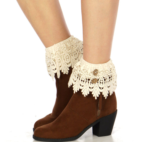 Buttoned solid crochet boot cuff