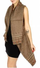 Multi-pattern knit high & low vest Taupe