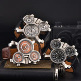 Adventurist - Triple Dial Leather Watch - HobbyRevo