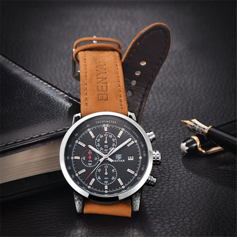Men's Sports Chronograph Military Leather and Dial - HobbyRevo