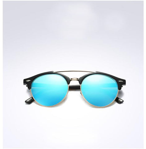 Mirror Round Alloy Frame with Blue Lens - HobbyRevo