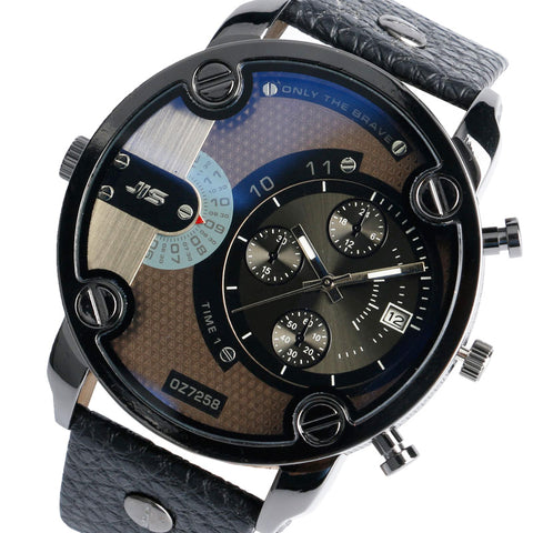 Men's Modern Large Military Leather and Dial - HobbyRevo