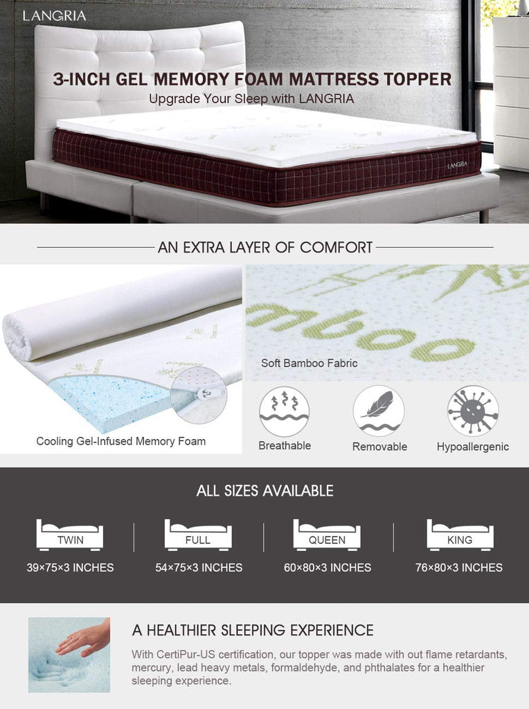 3 Inch Gel-Infused Memory Foam Mattress